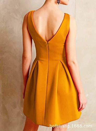 Donna Soft Vestito Aoyomo Senza Maniche Yellow qYI4qnwHR