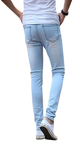 Mens-Light-Blue-Skinny-Jeans-Stretch-Washed-Slim-Fit-Straight-Pencil-Pants