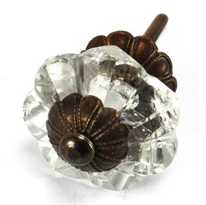 Art Deco Glass Cabinet Knobs, Dresser Drawer Handles & Pull Set/2pc ~ K164FF Glass Knobs w/ Antique Brass Florentine Hardware for Armoire, Kitchen Cabinets, Cupboards, and Second Hand Furniture