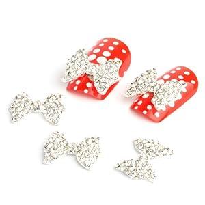 Yesurprise 5Pcs 3D Silver Alloy Rhinestones Bow Tie Nail Art Slices Glitters Diy