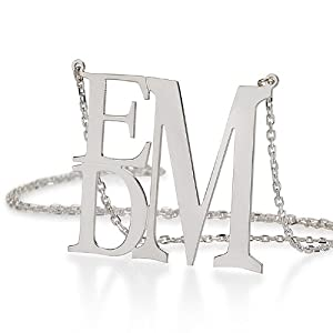 """Monogram Necklace 1.5"""" Sterling Silver Personalized Initial Necklace"""