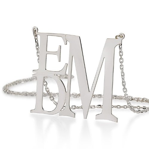 "Monogram Necklace 1.5"" Sterling Silver Personalized Initial Necklace"