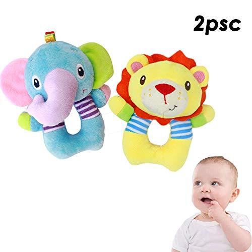 EASTiii ハンドグラップ 赤ちゃん用ガラガラ おもちゃ ソフトアニマル人形 2点セット (エレファント、ライオン) 新生児ギフト 0-3歳 男の子/女の子   B07JPF9897