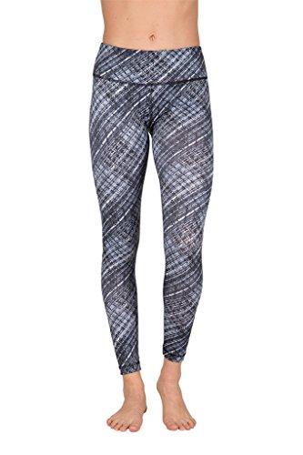 90 Degree By Reflex - Performance Activewear - Printed Yoga Leggings - Moire Black Grey - XS