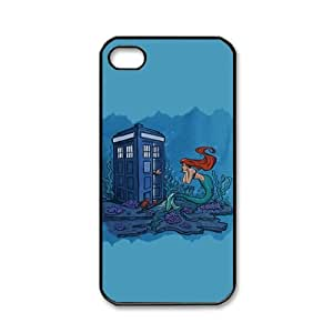 Tardis Doctor Who with The Little Mermaid Pattern Snap On Case Black Hard Cover for Apple iPhone 4 4s