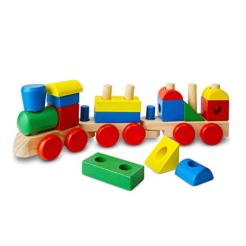Melissa & Doug Stacking Train (Classic Wooden Toddler Toy, 18 Pieces, Great Gift for Girls and Boys - Best for 2, 3, and 4 Year Olds)