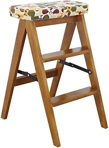 Hyzb 3-Paso Plegable Escalera de Mano, Taburete de Madera Silla de Comedor Escaleras for niños y Adultos, Artículos de jardín Principal, de Servicio Pesado, 200 kg MAX Natural: Amazon.es: Hogar