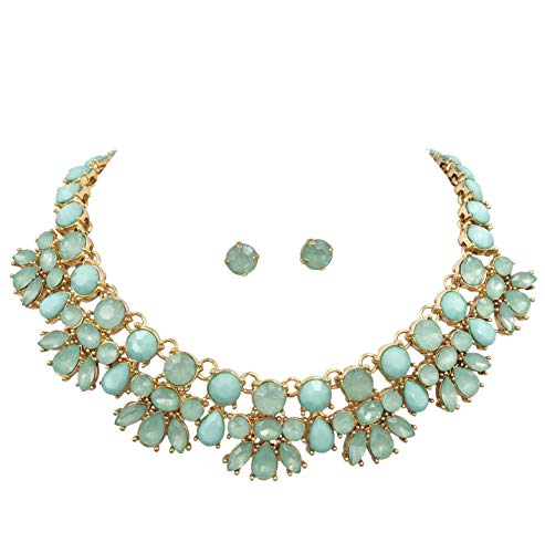 Gypsy Jewels Abstract Bib Statement Boutique Necklace & Earrings Set (Mint Green) ()