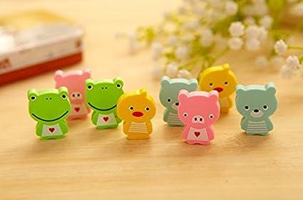 12 pcs/Pack de 3 Kawaii rana animales borrador de goma Mini creativo papelería útiles escolares papelaria regalo para niños: Amazon.es: Oficina y papelería