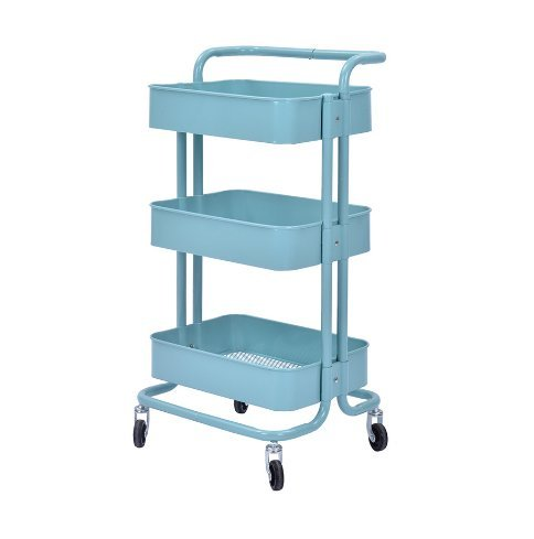 VuHom 3-Tier Metal Utility Service Cart Rolling Storage Shelves with Handles Storage Utility Cart (Blue) by VuHom