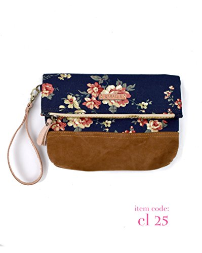 (Borann -Bridesmaid Gift-Bridesmaid clutch Women Floral Monogram Canvas Clutch Handbag Purse Bridesmaid Gift)