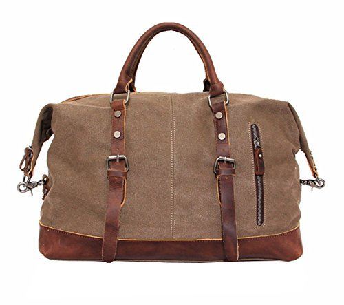 Travel Bag, Berchirly 21 Inches Oversized Canvas Leather Trim Travel Tote Duffel shoulder handbag Weekend Bag (Upgraded Version)