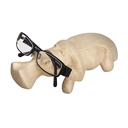 Ten Thousand Villages Whimsical Beige Wood Holder 'Carved Hippo Eyeglass Holder'