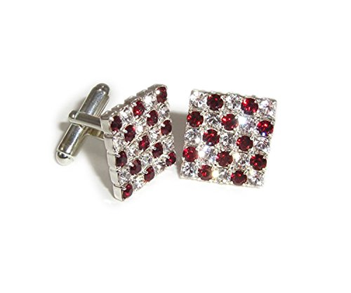 (LJ Designs Alternate Red & Crystal Square Cufflinks - Silver Plated - Made With Crystals From Swarovski)