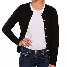 Women's 100% Cashmere Crew Neck Cardigan Sweater