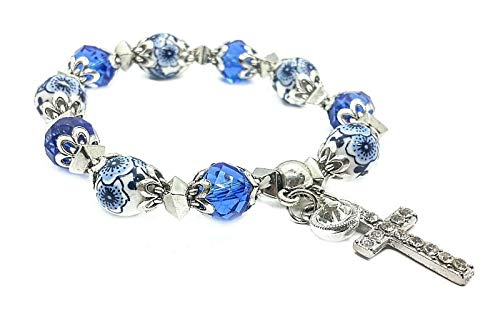 Nazareth Store Religious Cross Bracelet Christian Classic Beaded Bangle with Blue Crystal Beads Sacred Gift for Teen Girls Jewelry for Women & Men