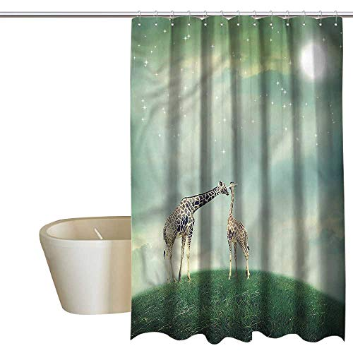 Denruny Shower Curtains Black Gray Giraffe,Fairytale Atmosphere,W72 x L84,Shower Curtain for Small Shower stall ()