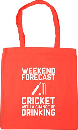 a 10 HippoWarehouse Bag Weekend Beach Gym Forecast Chance of 42cm Tote with Drinking Shopping litres x38cm Coral Cricket 4ZISwZ