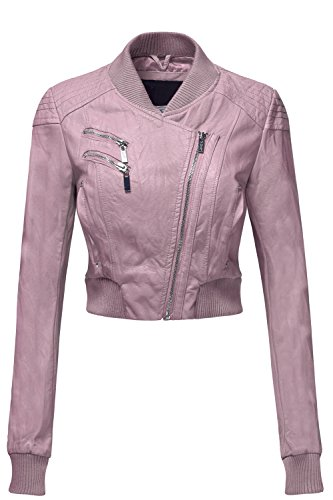Sexy Faux Leather Zip Up Long Sleeve Moto Crop Jackets, X-Large, 014-Pale Pink