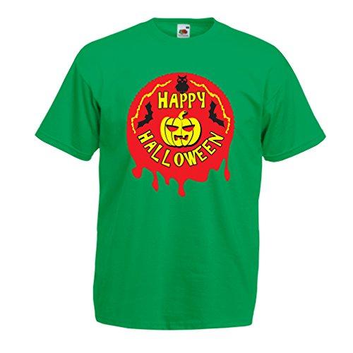 (lepni.me Men's T-Shirt Happy Halloween! - Party Clothes - Pumpkins, Owls, Bats (XXX-Large Green Multi)