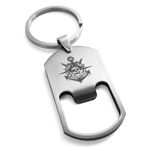 - Tioneer Stainless Steel Jolly Roger Pirate Skull Anchor Engraved Bottle Opener Dog Tag Keychain Keyring
