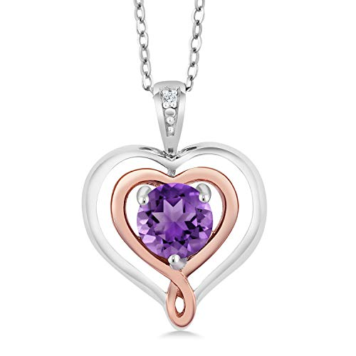 Amethyst & Diamond Accent 925 Sterling Silver & 10K Rose Gold Heart Shape Pendant Necklace With 18 Inch Chain