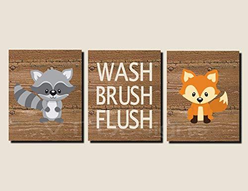 (CANVASPrtint Bathroom Decor Kids Bathroom Art Woodland Animals Woodland Bathroom Art Wash Brush Flush Fox Raccoon Set of 3 Prints or Canvas 8x10 inch Each)