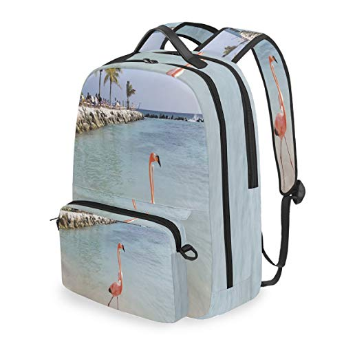 - Laptop Backpack Personalized Flamingo Cosmetic Bag Pouch Detachable Back pack