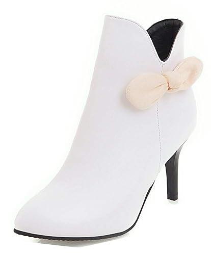 8f7c21bf87580 Aisun Femme Elégant Noeud Talon Haut 8cm Chaussures de Mariage Fille  Bottines Blanc 31 EU