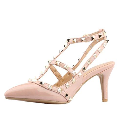 Calaier T Strap Sandali Rivetti Da Donna Tacco A Spillo Stiletto Comfort In Metallo Con Fibbia Scarpe 2017 Rosa