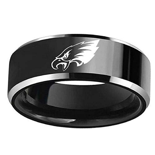 - FlyStarJewelry Philadelphia Eagles Football Black Titanium Steel Men Sport Ring Band Size 6-13 (10)