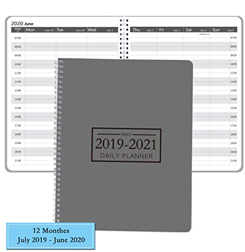 Academic Daily Planner 2019-2020, Appointment Planner Weekly & Monthly, 12 Monthes, Flexible Cover with Twin -Wire Binding