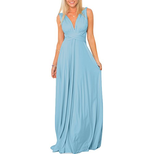 Women's Transformer Convertible Multi Way Wrap Long Prom Maxi Dress V-Neck Hight Low Wedding Bridesmaid Evening Party Grecian Dresses Boho Backless Halter Formal Cocktail Dance Gown Light Blue - Blue Sequin Shoulder One