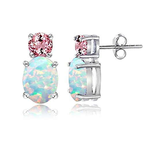 Sterling Silver Created White Opal and Pink Tourmaline Double Solitaire