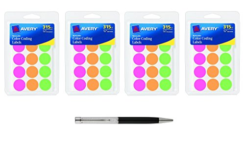 Removable Round Color Coding Labels (Avery Round Color Coding Labels, 0.75 Inch, Assorted, Removable,Pack of 315, 4-Pack Bundle (6733) - Bundle Includes Plexon Ballpoint Pen)