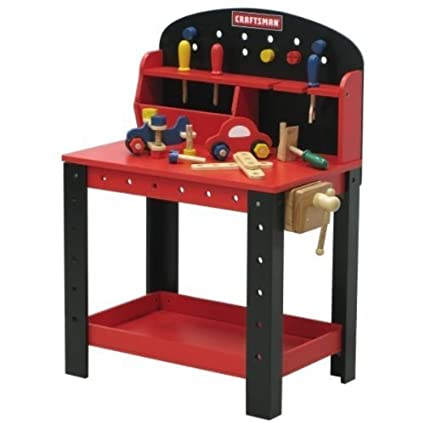 Marvelous Amazon Com My First Craftsman Wooden Workbench Toys Games Machost Co Dining Chair Design Ideas Machostcouk
