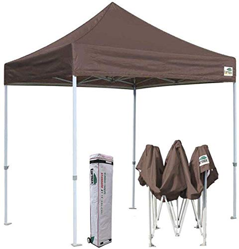 Eurmax 8x8 Feet Ez Pop up Canopy, Outdoor Canopies Instant Party Tent, Commercial Gazebo Bonus Roller Bag (Cocoa)