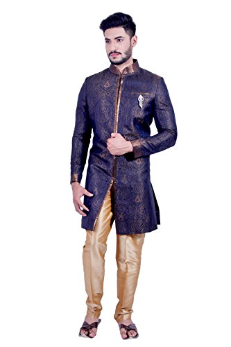 Denim Blue and Gold Indian Wedding Indo-Western Sherwani for Men by Saris and Things