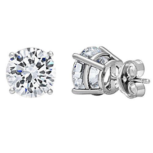DTLA 14k White Gold Solid Cubic Zirconia Stud Earrings (2 carats) by DTLA Fine Jewelry (Image #1)