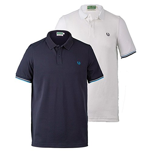 Men's Fred Perry Tipped Pique Tennis Polo-Navy-US Size XL