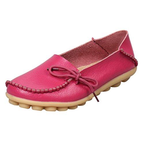 Elevin (tm) Nye Kvinner Mote Fritid Skinn Loafers Flats Blonder-up Erter Moccasin Gommino Sklisikre Sko Hot Pink