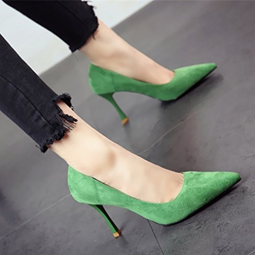 FLYRCX primavera y el verano de manera sencilla, señaló delgado TALÓN TALÓN alto solo señoras zapatos zapatos de ante c