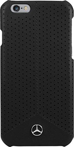 Mercedes Benz Pure Line Coque cuir perforé veritable pour Apple iPhone 6/6s, Noir