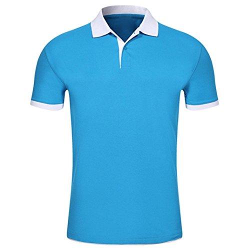 Bluestercool Hommes Polo Shirt Tops Été Casual Manches Courtes Slim Boutons T-Shirt 02