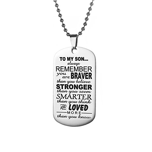 WMAO to My Son Gifts Always Remember to My Son Dog Tag from Dad Mens Boys Necklace Military Chain Air Force Pendant Thanksgiving and Child Birthday Best Souvenirs (to My Son 5)