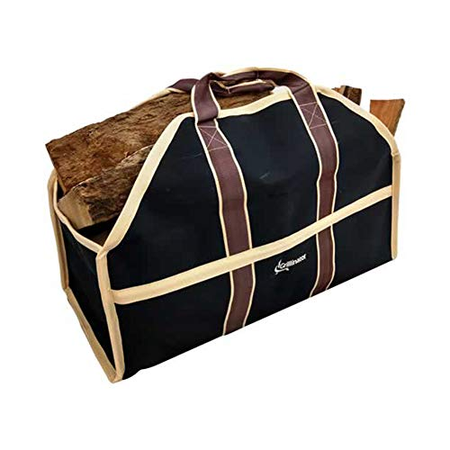 Grillinator Ultimate Firewood Log Carrier - Black - Heavy Duty Durable Tote Bag for Wood - Self Standing Design with Padded Handles - 16 Gallon Capacity for Fireplace, Beach & (Heavy Duty Firewood)