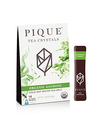 Pique Tea Organic Jasmine Green Tea Crystals - Gut Health, Fasting, Calm -14 Single Serve Sticks (Pack of 1)