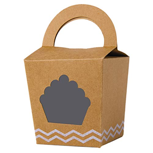 Single Mini Cupcake Boxes With Handle and PVC Window Kraft Individual Containers Carriers (Brown, 24) -