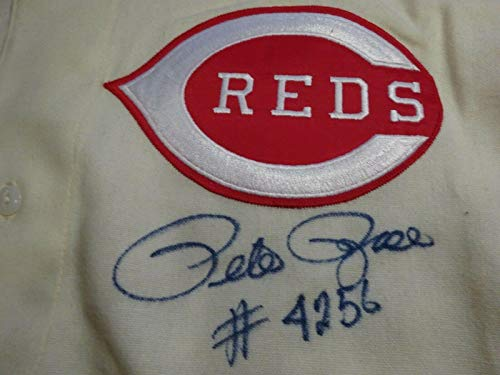 (Signed Pete Rose Jersey - #4256 Mitchell & Ness Certified - PSA/DNA Certified - Autographed MLB Jerseys)