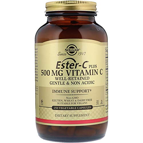 Solgar Ester-C® Plus 500 mg Vitamin C, Immune Support, Well-Retained, Gentle & Non Acidic, Non-GMO, Suitable for Vegans, 250 Vegetable Capsules